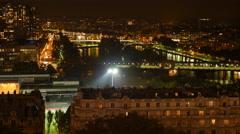 Paris Seine River Night Aerial Time Lapse Stock Footage