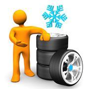 manikin car wheels snow tires - stock illustration