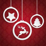 christmas 3 white rings red background ornaments - stock illustration