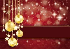 Stock Illustration of golden baubles stars  bokeh glitter red ornaments