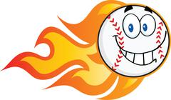 Smiling Flaming Baseball Ball Cartoon Character - stock illustration