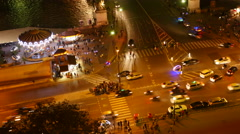 Paris Street Night Aerial Time Lapse Stock Footage