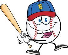 Happy Baseball Ball With Cap Swinging A Baseball Bat Stock Illustration
