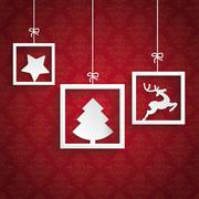 Stock Illustration of red background ornaments 3 quadrates frames christmas