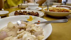4k UHD time lapse video on eating different types of home-cooked dishes Stock Footage