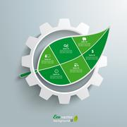 big gear green leave infographic 6 options - stock illustration