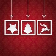 Stock Illustration of red background ornaments 3 frames christmas