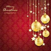 golden christmas baubles lines red ornaments - stock illustration