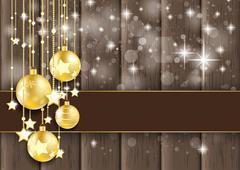 Stock Illustration of golden baubles stars bokeh glitter wood