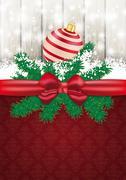 Christmas card ash wood red ribbon ornaments Stock Illustration