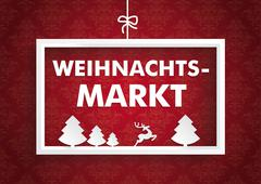 white frame red ornaments christmas market - stock illustration