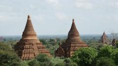 Pagodas landscape in Bagan, Myanmar, Burma Stock Footage