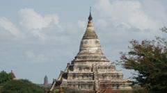 Stock Video Footage of Shwe Sandaw Pagoda in Bagan, Myanmar, Burma
