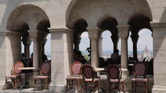 Cafe in Arches, Fishermen's Bastion (Halaszbastya), Budapest, Hungary, Europe Stock Footage