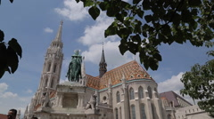 Matyas Church (Matthias Church) at Fisherman's Bastion, Budapest, Hungary Stock Footage