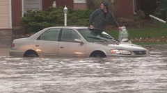 Severe flash flooding in city of Kitchener after rain storm - stock footage