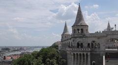 Hungarian Parliament, Chain Bridge & River Danube from Fishermen's Bastion Stock Footage
