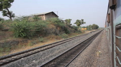 From the open door of the train. Railway in India Stock Footage