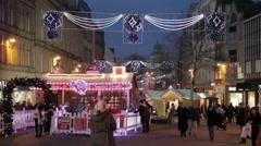 Christmas Market Stalls, South Yorkshire, England, UK, Europe - stock footage
