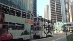 Busy street Hong Kong China jam tram people bus-Dan Stock Footage
