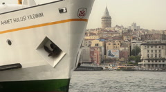 Close up of a passenger ferry at Istanbul Stock Footage