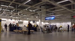One side of exchanges and returns department inside ikea store Stock Footage