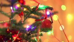 Christmas decoration with colorful light in the background - stock footage