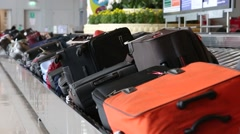 Baggage conveyor belt in the Suvarnabhumi Airport. Bangkok, Thailand Stock Footage