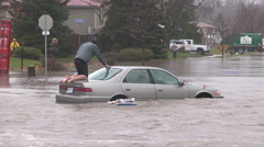 Severe flash flooding in city of Kitchener after rain storm Stock Footage