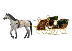 christmas sleigh - stock illustration