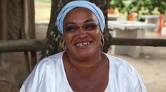 A Traditional Brazilian woman from Bahia saying Welcome to Bahia in Portuguese Stock Footage