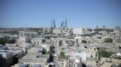 Stock Video Footage of Flame Towers and old Baku from Maiden tower in Azerbaijan