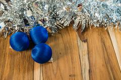 blue decorated for christmas and new year. on the background of wooden - stock photo