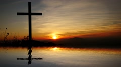 jesus cross religious symbol. hope and believe background - stock footage