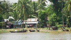 House at the river in Pathein, Myanmar, Burma Stock Footage