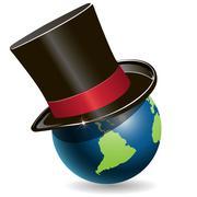 globe in cylinder - stock illustration