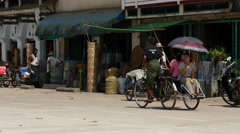 Traffic in the street of Pathein, Myanmar, Burma Stock Footage