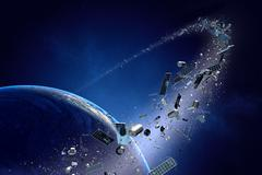 Space junk orbiting around earth - conceptual of pollution around our planet Stock Illustration