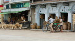 In the streets of Pathein, Myanmar, Burma Stock Footage