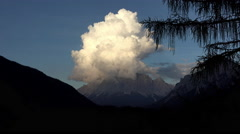 Germany Zugspitze sunset storm cloud 4K 068 Stock Footage