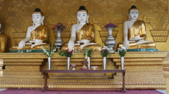 Buddha statues at the Shwemokehtaw Pagoda in Pathein, Myanmar, Burma Stock Footage