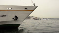 Prow of an old and landed passenger ferry at Istanbul  Stock Footage