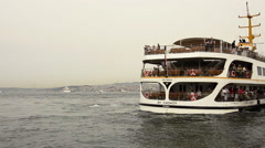 Stern of a landing ferry in Istanbul Stock Footage