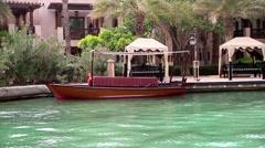 Boat in Madinat Jumeirah Stock Footage