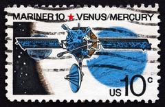 Postage stamp USA 1975 Mariner 10, Robotic Space Probe - stock photo
