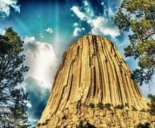 Devils Tower, Wyoming. The Black Hills on a summer sunset - stock photo