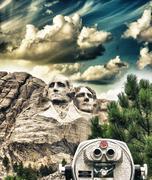 Mount Rushmore, South Dakota. View with telescope on foreground Stock Photos