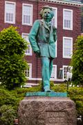 Statue of composer Edvard Grieg - Bergen Norway - stock photo
