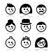 Crying people faces - man, woman, baby icons set Stock Illustration