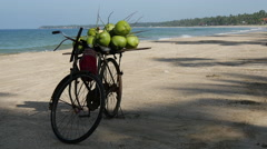 Bike with coconuts at Ngwe Saung Beach, Myanmar, Burma Stock Footage